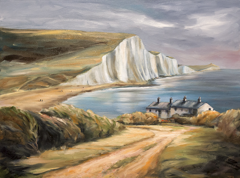 cuckmere haven landscape oil