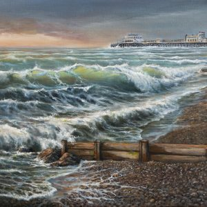 West Sussex Worthing beach and pier on canvas