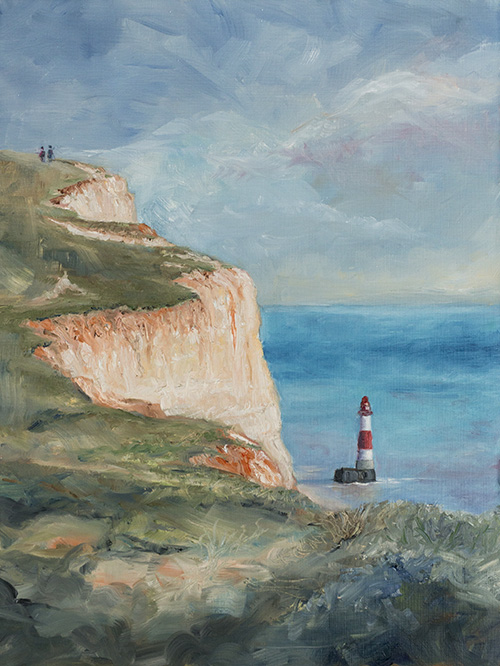 beachy head lighthouse small painting