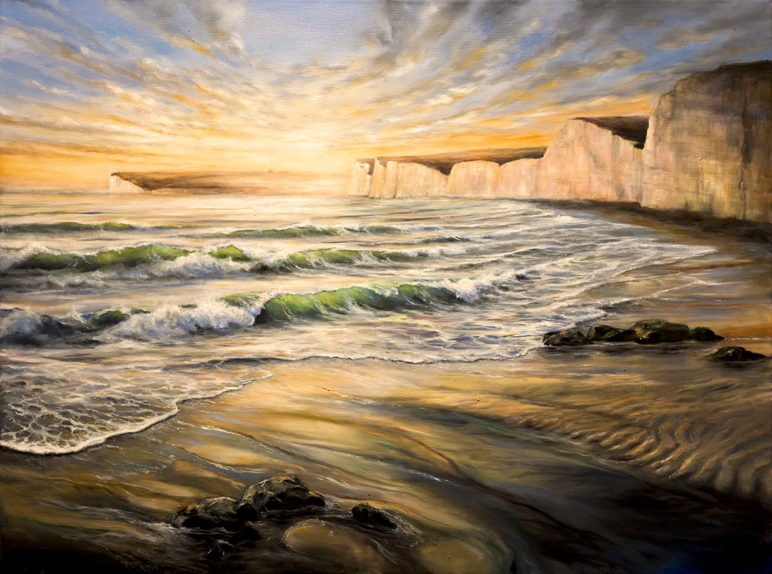 Birling Gap oil painting,seven sisters national park artwork